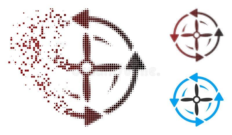 Opgelost de Omwentelingspictogram van de Pixel Halftone Schroef royalty-vrije illustratie