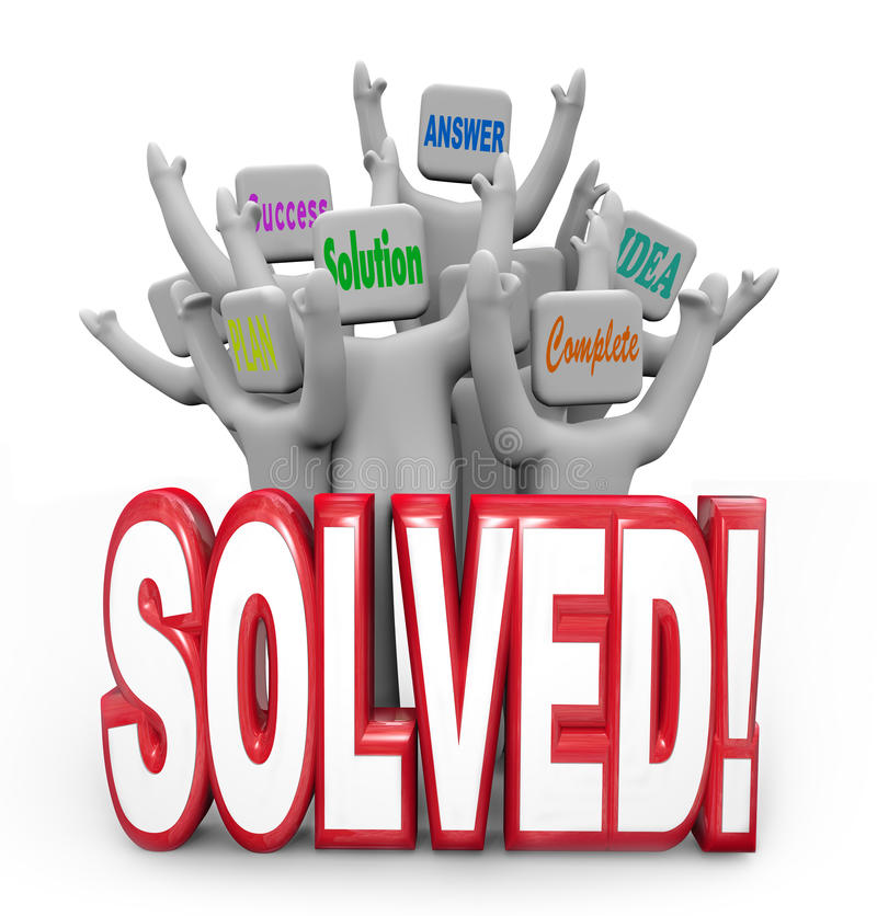 Opgeloste Mensen die Bereikt het Plandoel toejuichen van het Oplossingsantwoord vector illustratie