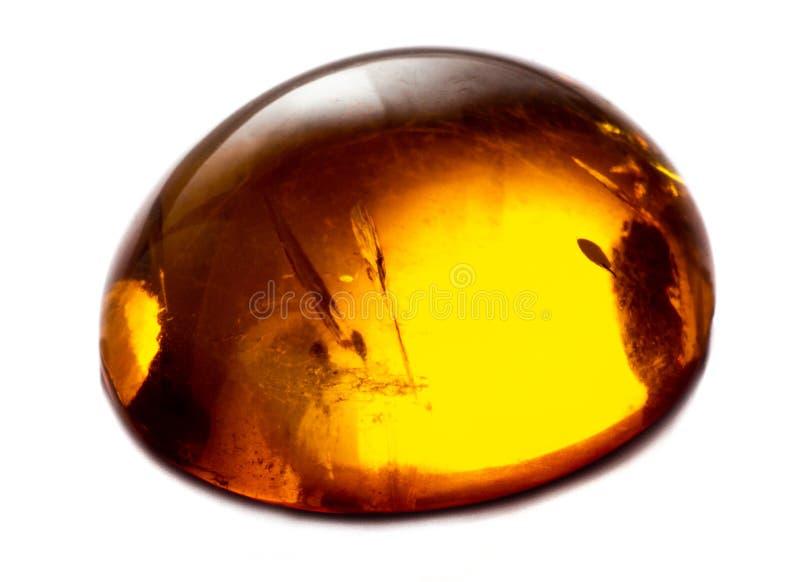 Opgepoetst cabochon van kunstmatige amber met opneming op witte geïsoleerde achtergrond stock foto's