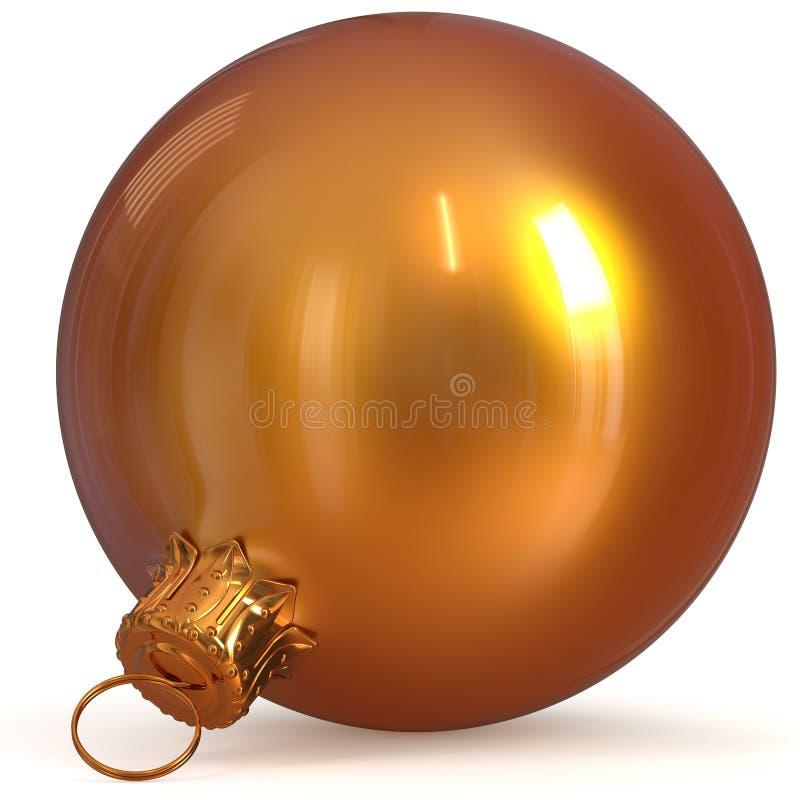 Opgepoetst glanzend van de de decoratie oranje gouden close-up van de Kerstmisbal stock illustratie