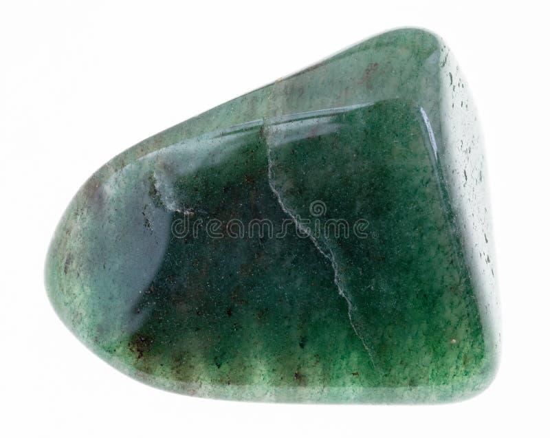 opgepoetste groene Aventurine-halfedelsteen op wit royalty-vrije stock afbeelding
