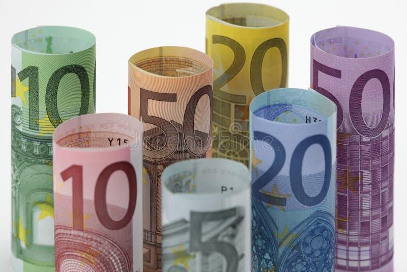 Opgerolde Euro rekeningen dicht omhoog stock afbeelding