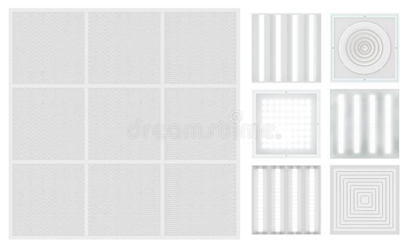 Opgeschort cassetteplafond met rooster Reeks voor een modulair plafond stock illustratie