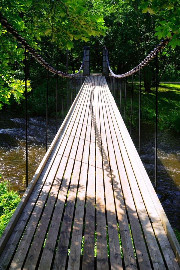 Opgeschorte brug over de rivier royalty-vrije stock afbeeldingen
