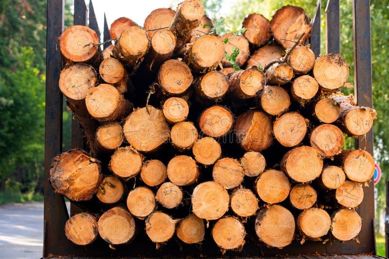 Opgestapeld hout voor een vrachtwagen royalty-vrije stock fotografie