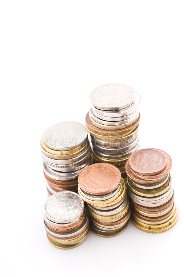 Opgestapelde muntstukken royalty-vrije stock foto's