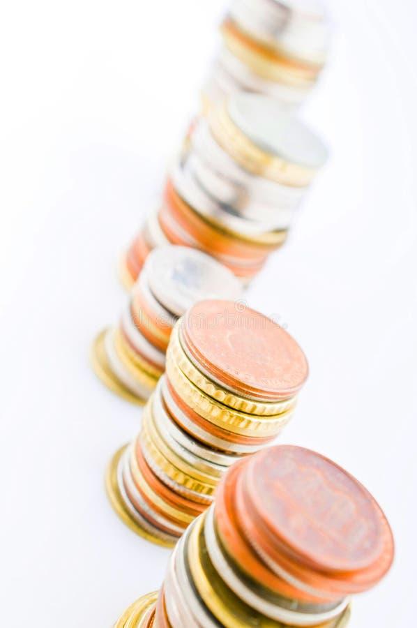 Opgestapelde muntstukken royalty-vrije stock afbeeldingen