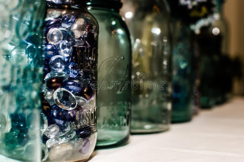 Opgesteld Mason Jars royalty-vrije stock afbeelding