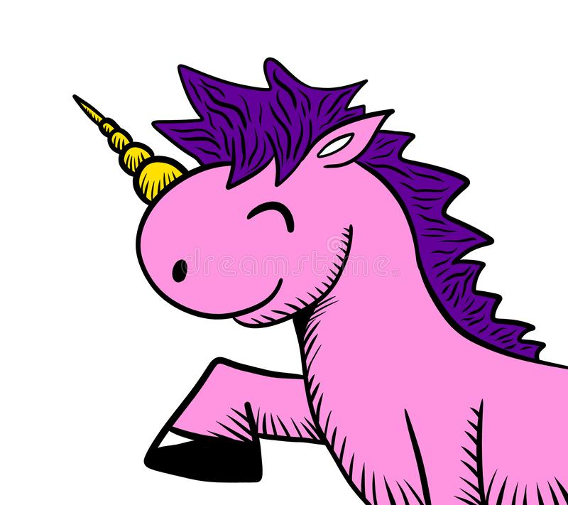 Opgewekt Leuk Roze Unicorn Doodle stock illustratie
