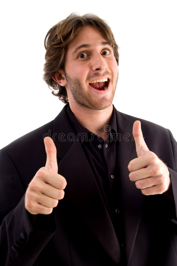 Opgewekt mannetje met omhoog duimen royalty-vrije stock foto