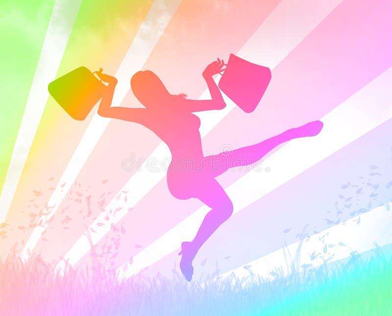 Opgewekt winkelend meisje vector illustratie