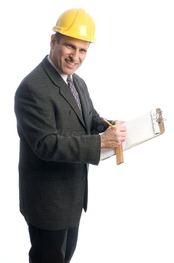 Opgewekte contractant met klembord royalty-vrije stock foto
