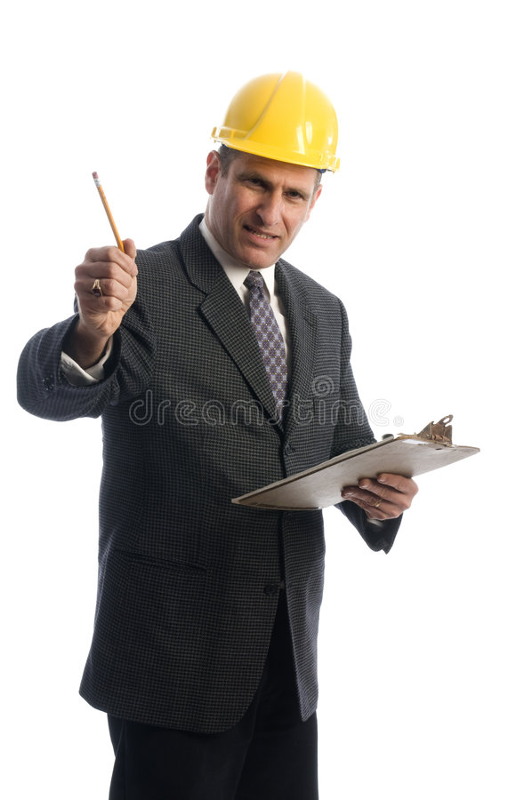 Opgewekte contractant met klembord stock foto