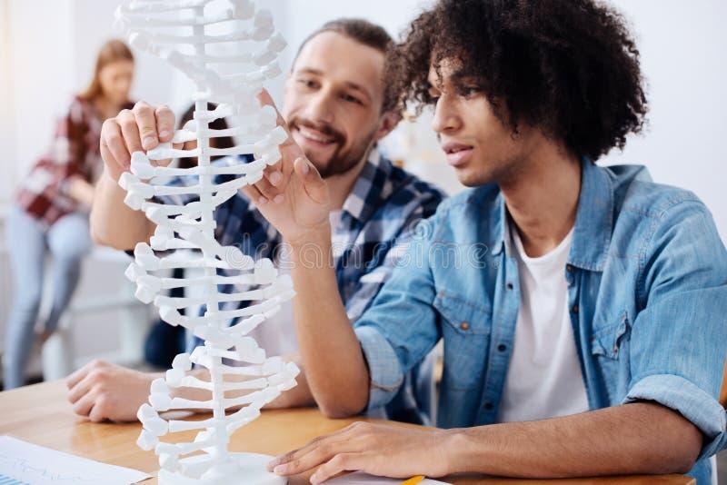 Opgewekte jonge wetenschappers die de structuur van menselijk genoom ontdekken royalty-vrije stock foto