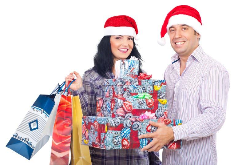 Opgewekte Kerstmis van de paarholding stelt voor royalty-vrije stock afbeelding