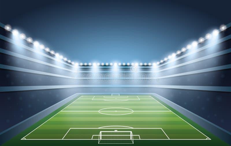 Opgewekte menigte van mensen bij een voetbalstadion stock illustratie