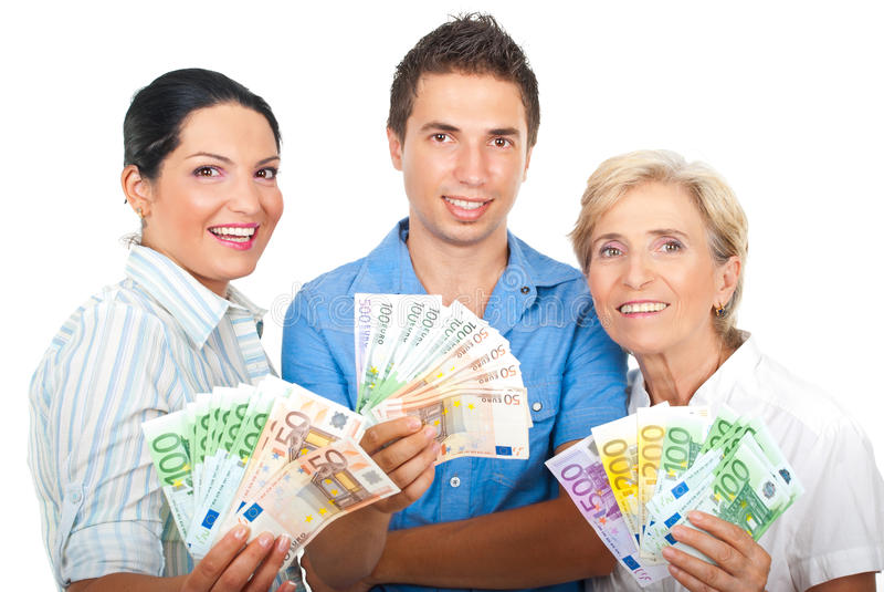 Opgewekte mensen die geld houden royalty-vrije stock foto