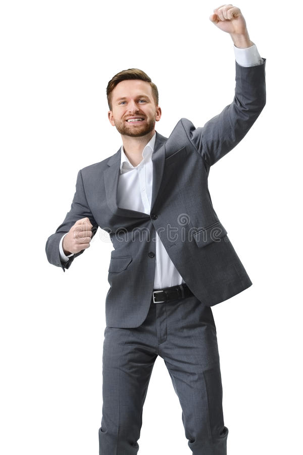 Opgewekte zakenmanviering succes stock foto's