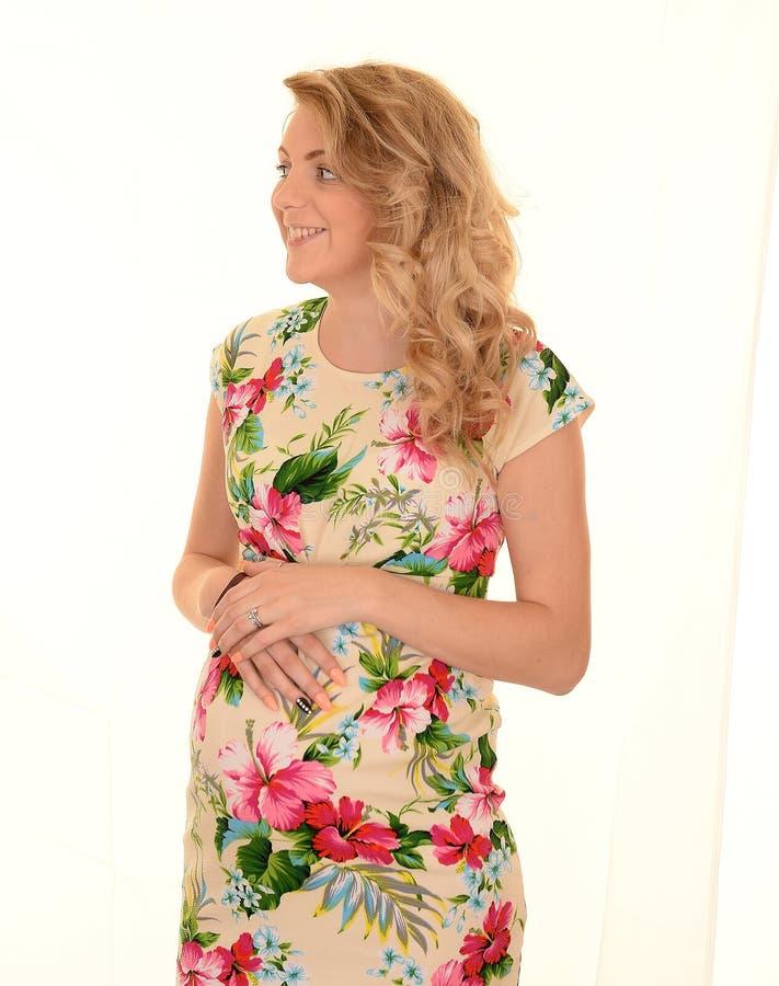 Opgewekte Zwangere Vrouw stock foto's