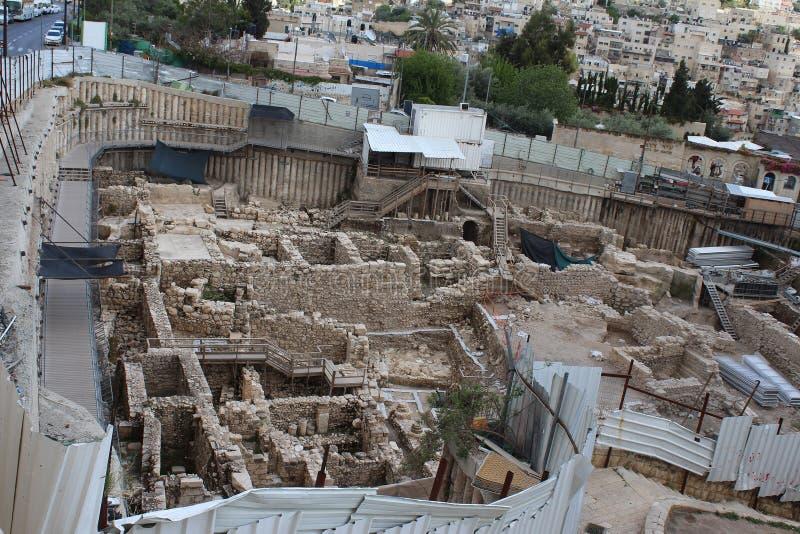 Ophel väggar, utgrävningar, montering från Mount of Olives, Jerusalem, Israel arkivfoto