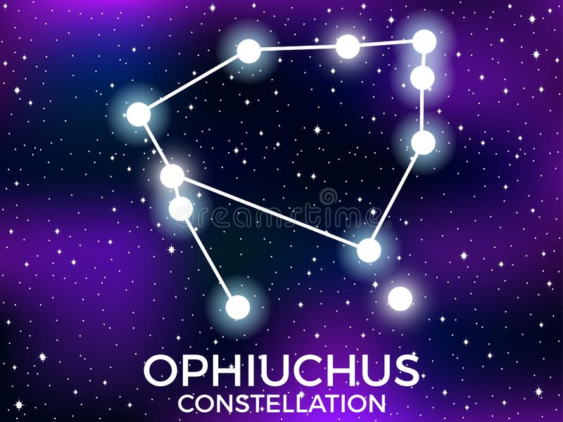 Ophiuchus constellation. Starry night sky. Cluster of stars and galaxies. Deep space. Vector. Illustration royalty free illustration