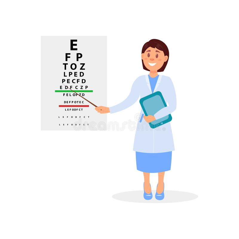 Ophtalmologue féminin tenant le comprimé numérique et se dirigeant aux lettres du diagramme d'oeil Bureau de l'oculiste s d'essai illustration stock