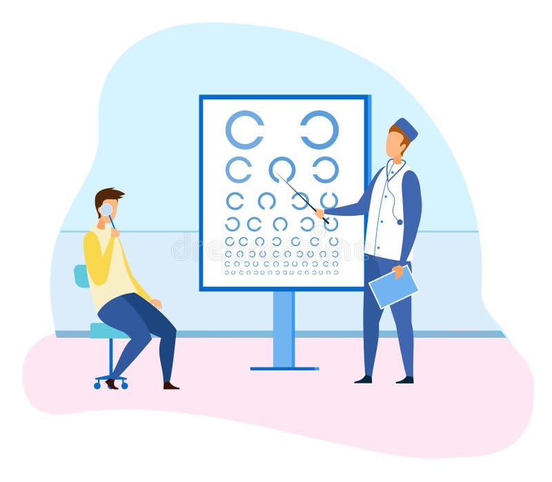 Ophtalmologue masculin Checking Patient Eyesight illustration stock
