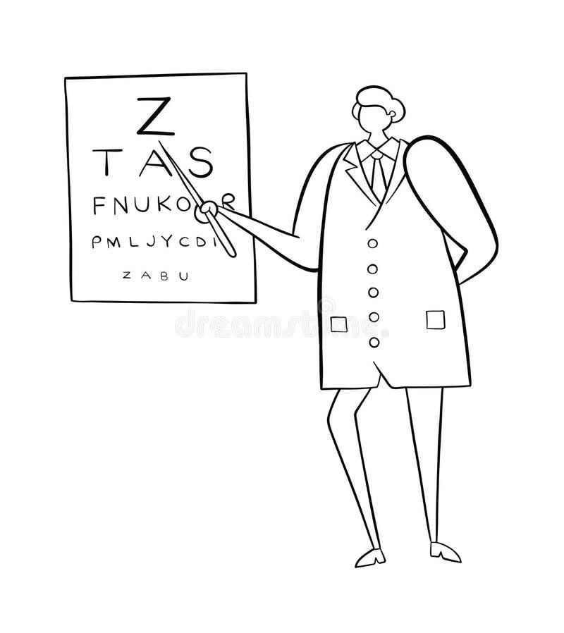 Ophtalmologue montrant des lettres sur le diagramme d'oeil, illustration tirée par la main de vecteur Contours noirs, blancs illustration libre de droits