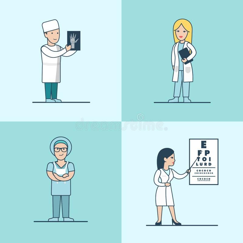 Ophtalmologue plat linéaire de thérapeute de chirurgien illustration libre de droits
