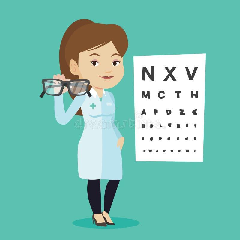 Ophtalmologue professionnel tenant des lunettes illustration stock