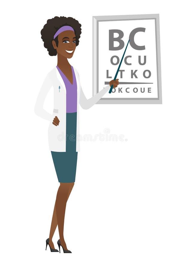 Ophtalmologue professionnel tenant des lunettes illustration de vecteur