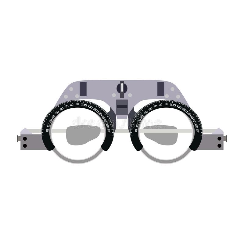 Ophthalmic glasses for diopter detection vector flat illustration. Vector illustration of ophthalmic glasses for diopter detection isolated on white background stock illustration