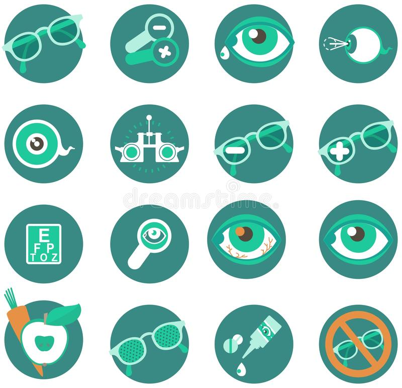 Ophthalmic Icons. Set of medical and ophthalmic icons in a circle on a white background stock illustration