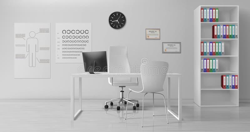 Ophthalmologe Büro-Interieur realistischer Vektor stock abbildung