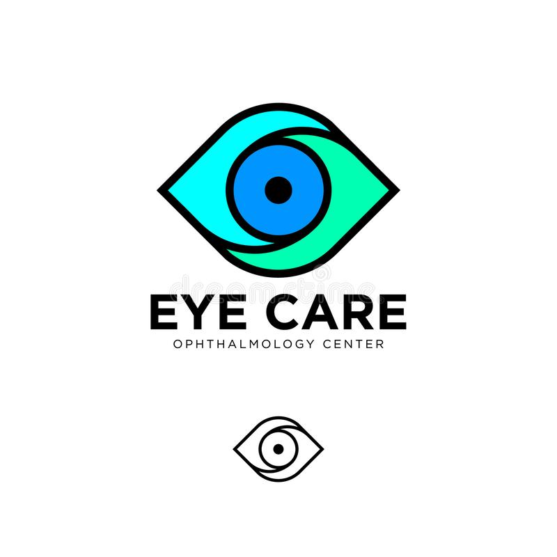 Ophthalmologic clinic flat logo. Eye care emblems. Contour logo. stock illustration