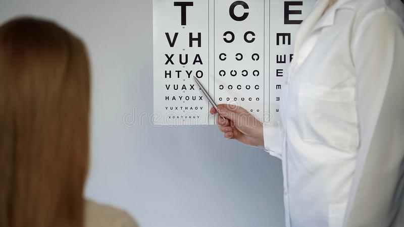 Ophthalmologist checking patient eyesight, pointing letters, eyes examination. Stock footage stock photo