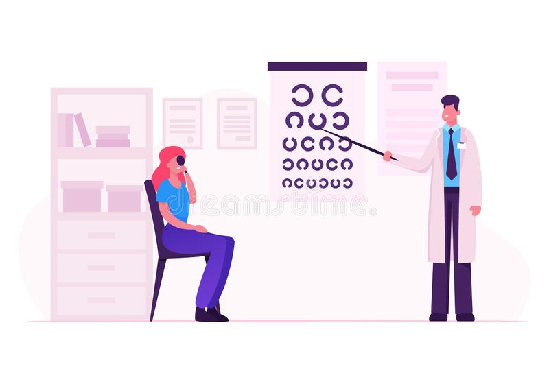 Ophthalmologist Doctor Check Eyesight for Eyeglasses Diopter. Male Oculist with Pointer Checkup Eye Sight. Professional Optician Exam Patient for Treatment stock illustration