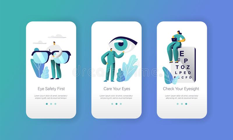 Ophthalmologist Doctor Test Eyesight on Text Chart Mobile App Page Onboard Screen Set. Professional Oculist Analysis. Eye Diopter. Laser Treatment for Eye vector illustration