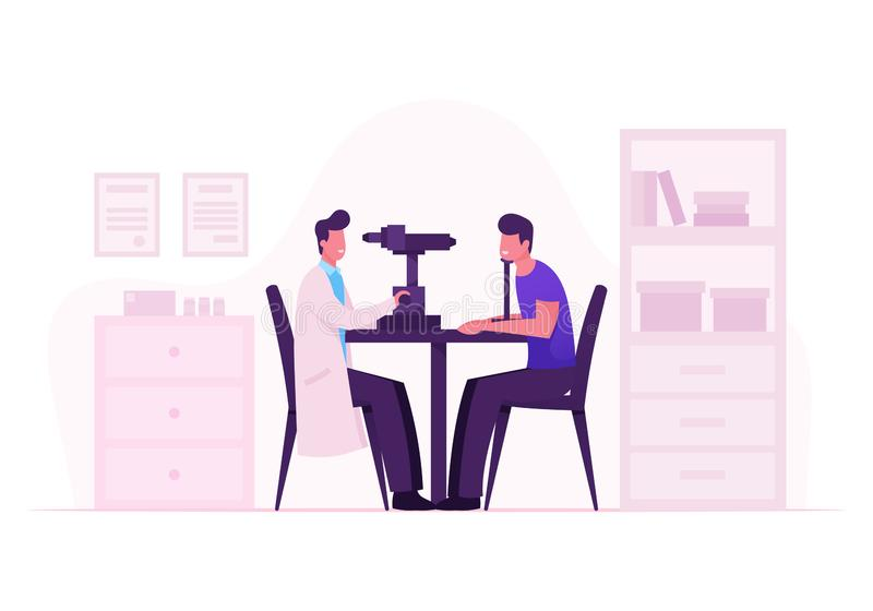 Ophthalmologist Doctor Test Myopia Eye on Special Device. Oculist Checkup Optometry for Eyeglasses. Medical Optician. Treatment Patient Foresight Focus stock illustration