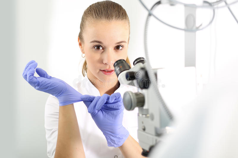 Ophthalmologist. Eye doctor .Hospital department of ophthalmology stock photography