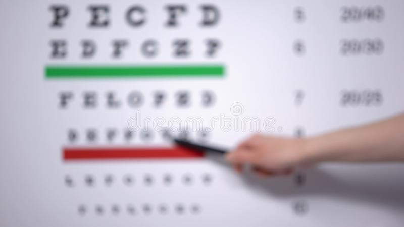 Ophthalmologist hand showing letter on eye chart to patient with vision problems royalty free stock photos