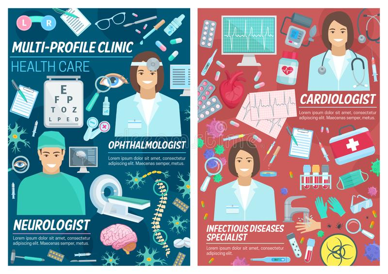 Ophthalmologist and neurologist medical diagnostic royalty free illustration