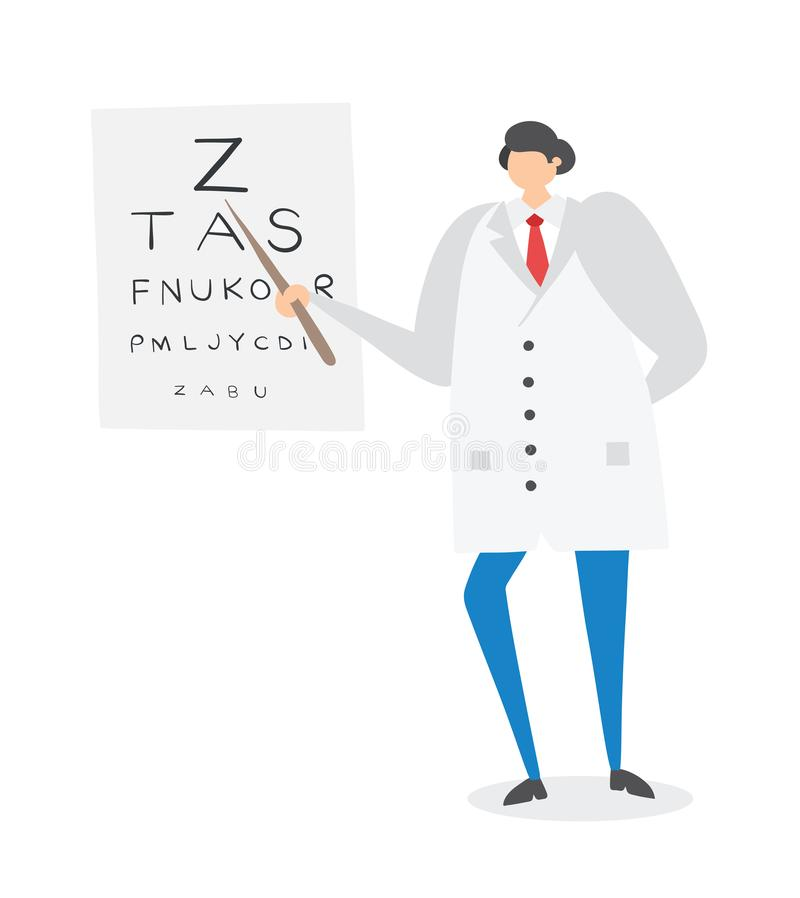 Ophthalmologist showing letters on eye chart, hand-drawn vector illustration stock illustration