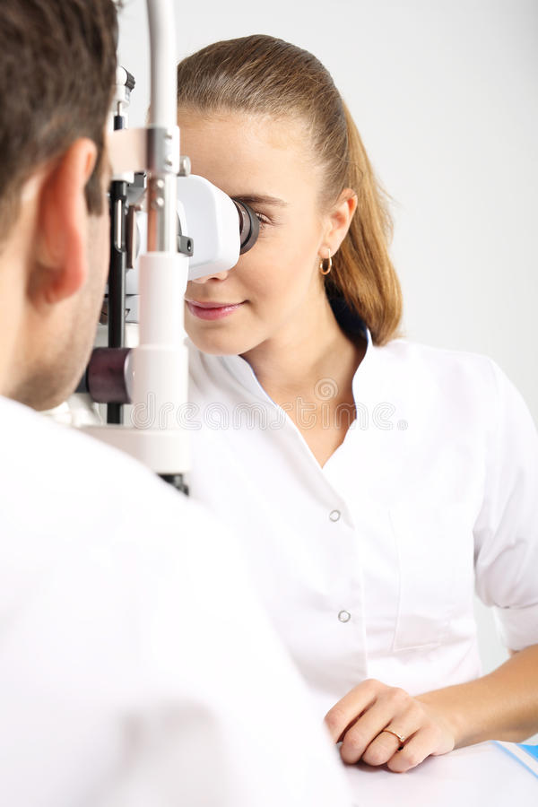 Ophthalmologist. Young attractive doctor ophthalmologist at an ophthalmologist stock photos