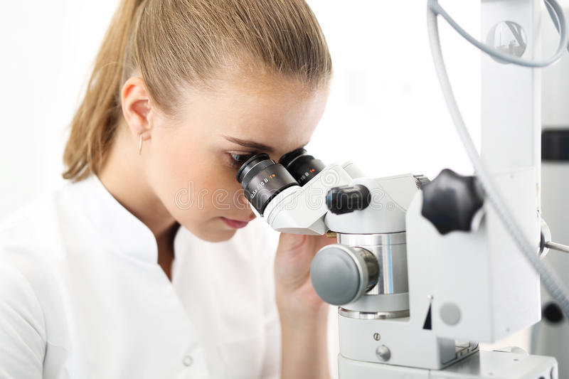 Ophthalmologist. Young attractive doctor ophthalmologist at an ophthalmologist stock photography