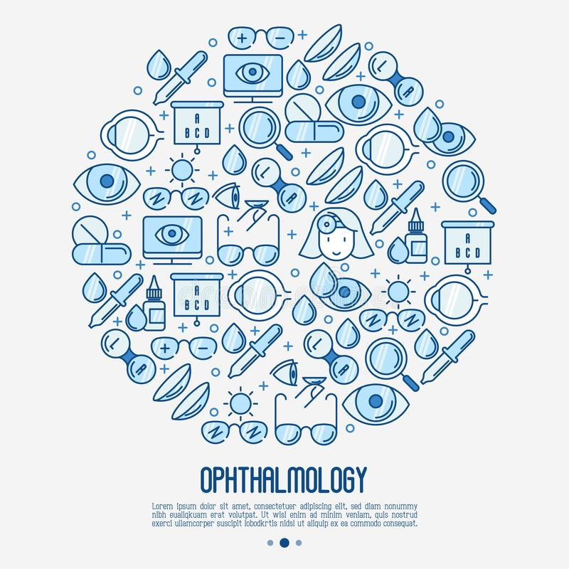 Ophthalmology concept in circle. With vision care thin line icons. Vector illustration for banner, web page, print media royalty free illustration