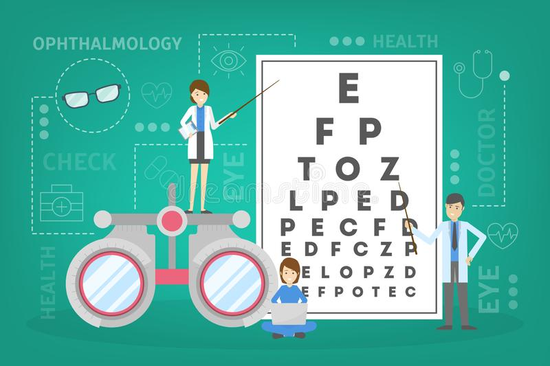 Ophthalmology concept. Idea of eye care and vision vector illustration