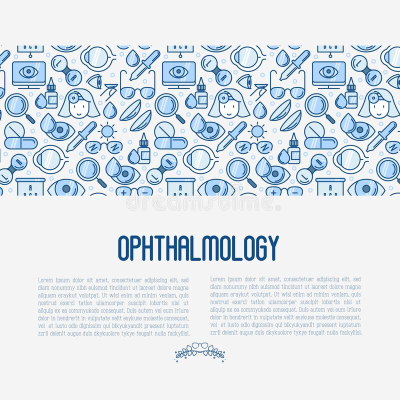 Ophthalmology concept with vision care. Thin line icons. Vector illustration for banner, web page, print media vector illustration