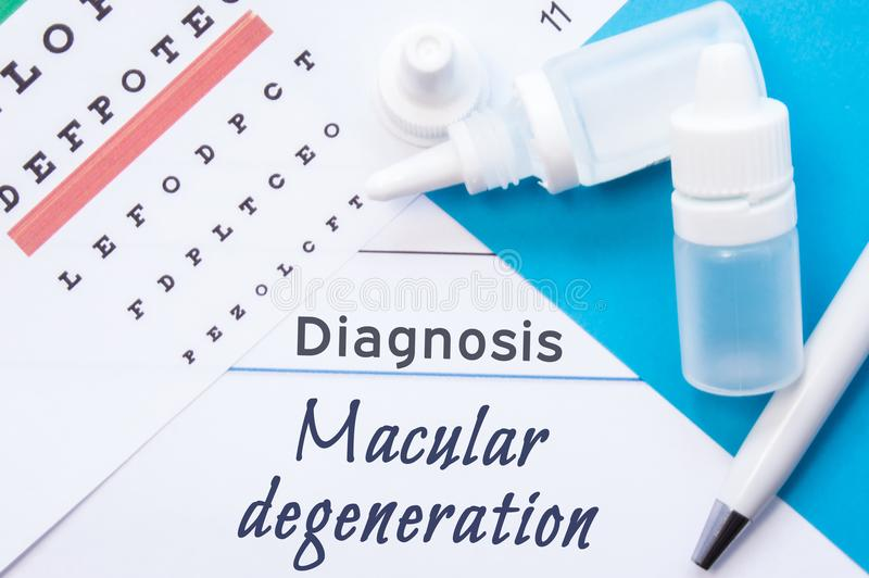 Ophthalmology diagnosis Macular Degeneration. Snellen eye chart, two bottles of eye drops medications lying on note with inscr. Iption Macular Degeneration royalty free stock photography