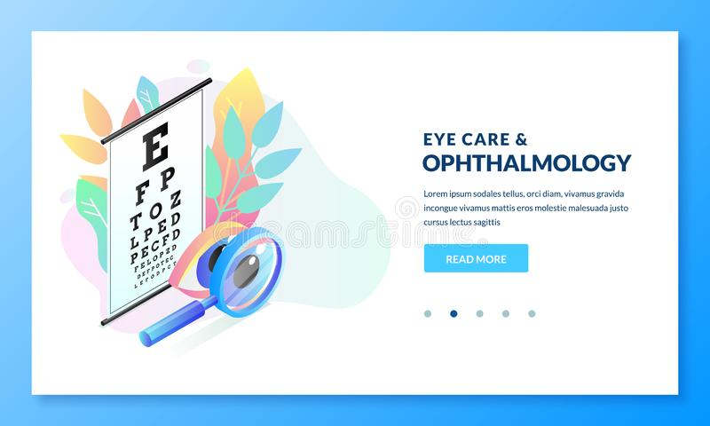 Ophthalmology diagnostics and eye test concept. Vector isometric gradient illustration. Landing page banner design. Template for medicine and vision care themes vector illustration
